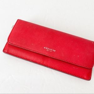 Coach red leather slim wallet